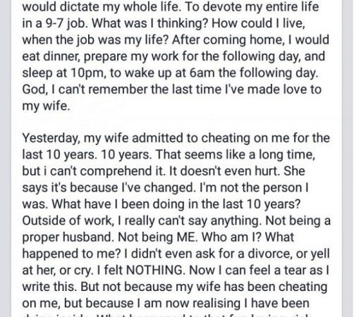 46 years old found out his wife has been cheating for 10 years. And then he wrote this awesome post